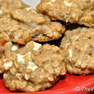 Brown Butter, Oatmeal, and White Chocolate Chip Cookies.