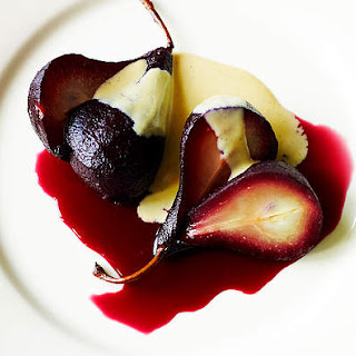 Poached Pears With Brown Sugar Creme Anglaise