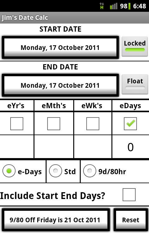 Jim's Date Calculator- screenshot