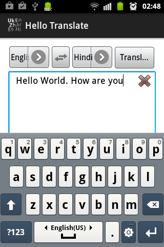 Hello Translate demo