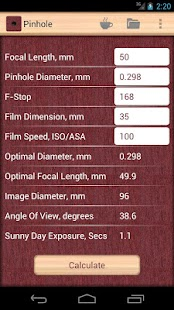 Pinhole Camera Calculator – Vignette de la capture d'écran