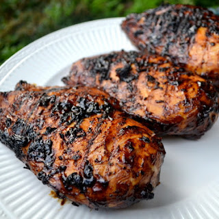 Grilled Chicken Breasts with Molasses-Coffee Glaze.