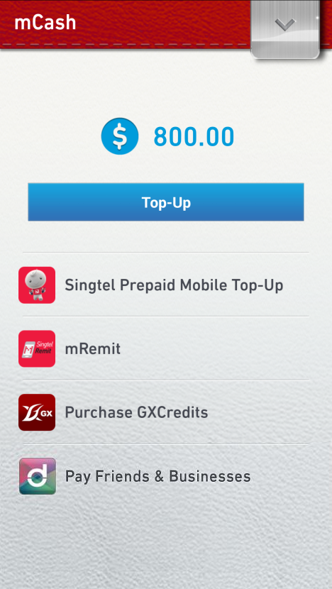 Singtel mWallet - screenshot