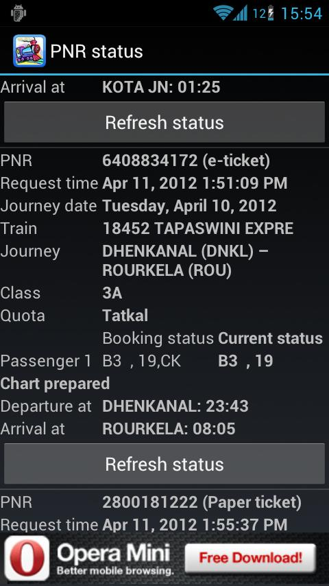 PNR status and train info- screenshot