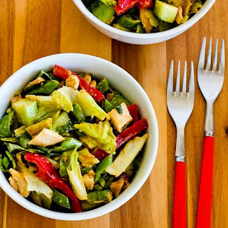 Spicy Chicken Salad Recipe with Sugar Snap Peas, Cucumber, Red Bell Pepper, and Basil.