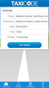 Taxicode - UK Taxi Booking App - screenshot thumbnail