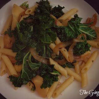 Penne with Caramelized Onions, Parsnips and Kale Recipe