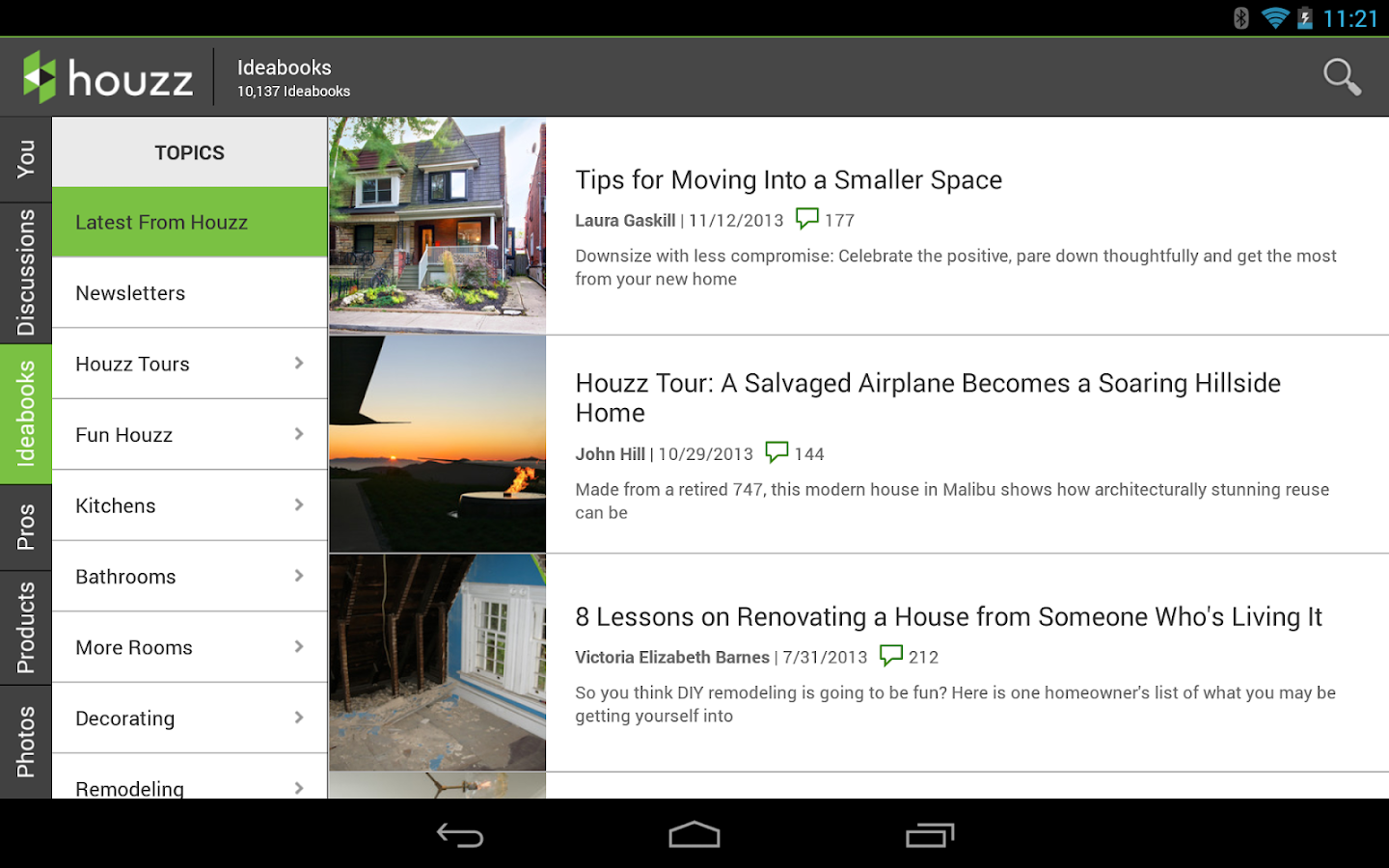 Houzz interior design ideas screenshot for Interior design online app