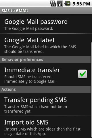 SMS to GMAIL - screenshot