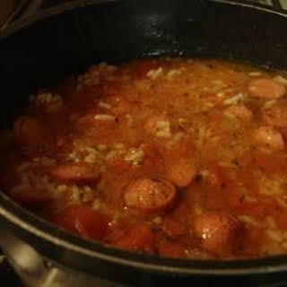Rice and Hot Dogs Soup.