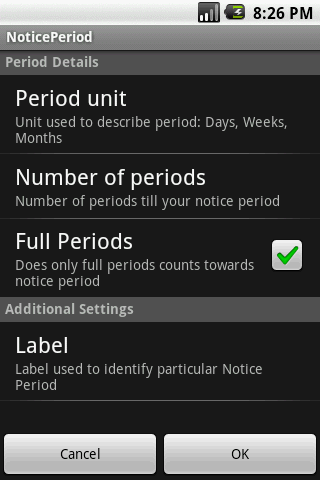 Notice Period Widget - screenshot