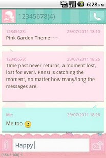 Easy SMS Pink Garden Theme - screenshot thumbnail
