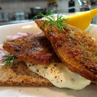 Fried Herring on Crisp Bread with Tartar Sauce