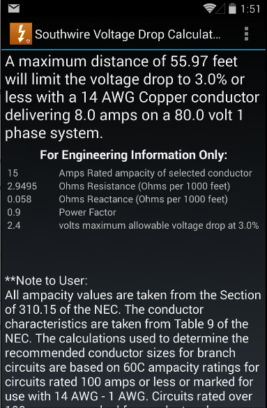 Southwire Volt Drop Calculator- screenshot