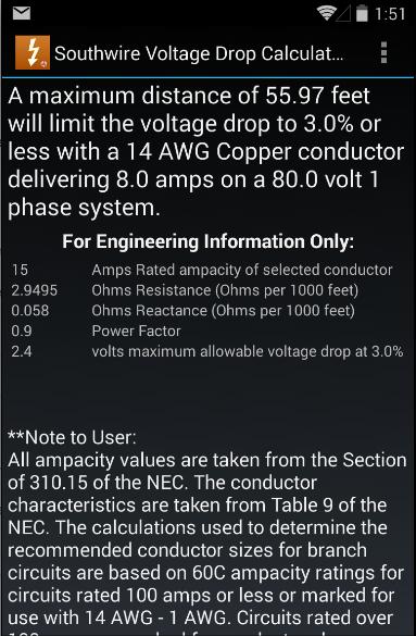Southwire Volt Drop Calculator - screenshot