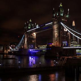 London Bridge by Mike Bing - City,  Street & Park  Night ( uk, tower, london, night, bridge, historic,  )
