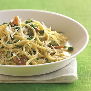 Spaghetti Carbonara with Pork Belly and Fresh Peas