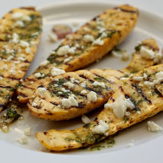 Grilled Yellow Squash with Fresh Dill Vinaigrette and Feta.