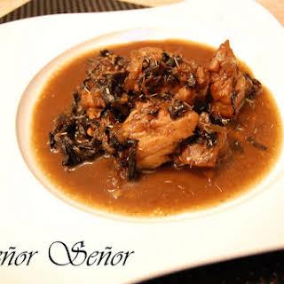 Chicken in Black Trumpet Mushroom Sauce.