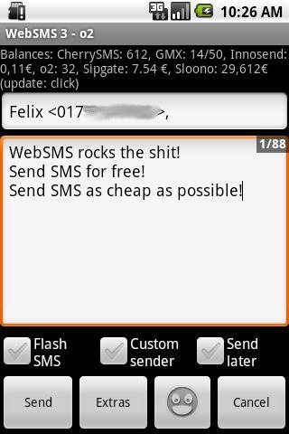 WebSMS: sipgate Connector- screenshot