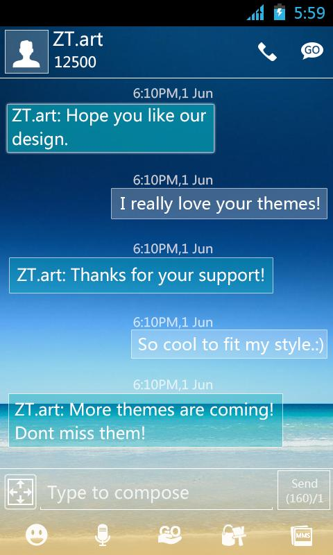 GO SMS Pro DeepBlue ThemeEX - screenshot