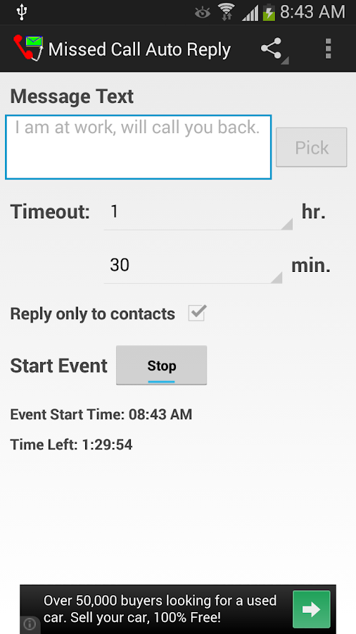 Missed Call Auto Reply - screenshot