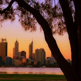 Sunset at Perth view from Swan river side by Dino Rimantho - City,  Street & Park  Skylines ( perth, nature, sunsets, swan river, landscapes, , golden hour, sunset, sunrise )