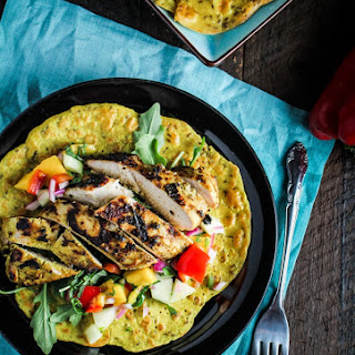 Chickpea Crepes with Grilled Curry Chicken and Mango Salsa.