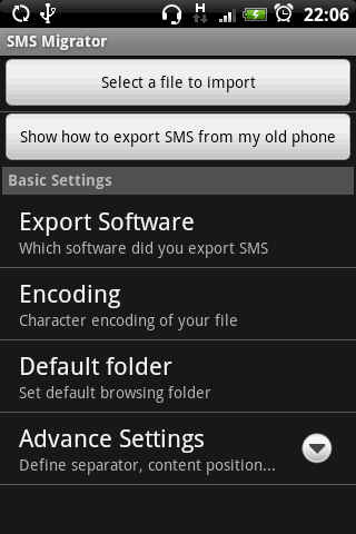 SMS Migrator- screenshot
