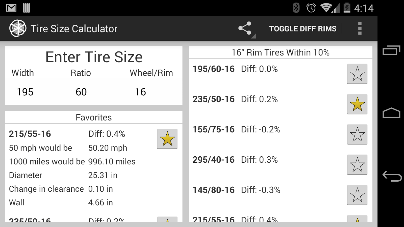 Tire Size Calculator- screenshot