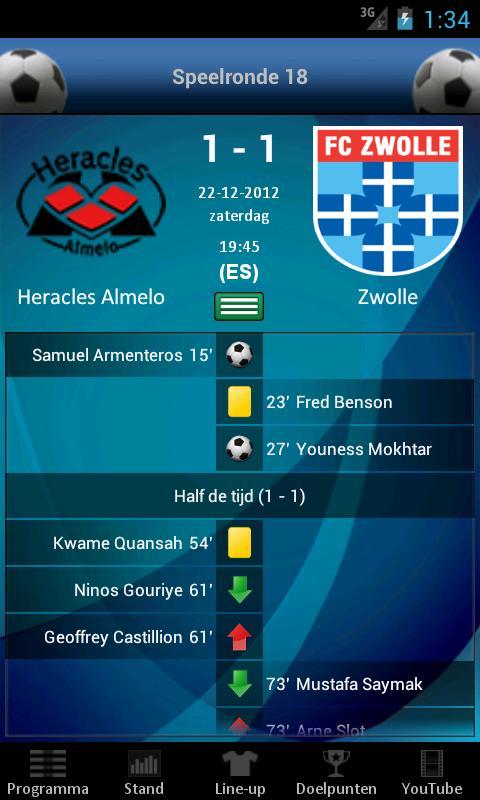 Eredivisie Voetbal - screenshot