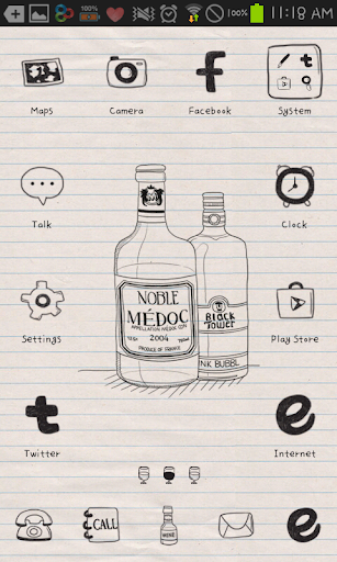 drawing wine GO launcher theme