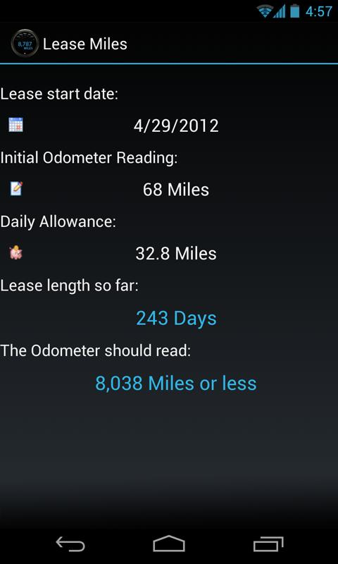 Lease Miles Widget- screenshot