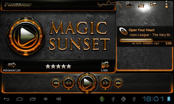 Poweramp skin Sunset v2.03