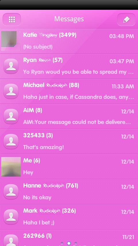 PINK POP GO SMS Theme - screenshot