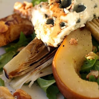 Roasted Endive and Pear Salad with Arugula, Walnuts, and Roquefort