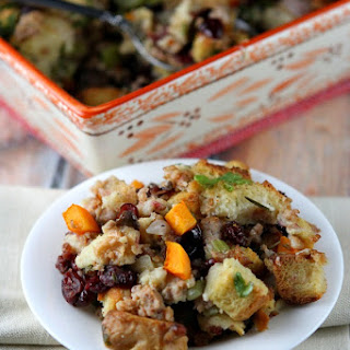 Sausage and Herb Stuffing with Butternut Squash and Cranberries