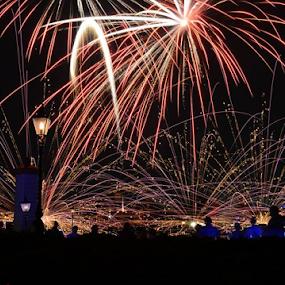 Illuminations show at EPCOT by Sean O'Brien - City,  Street & Park  Night ( walt disney world, illuminations, laser show, fireworks, epcot, , creativity, lighting, art, artistic, purple, mood factory, lights, color, fun )