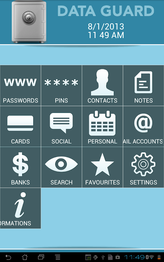 Data + Guard: password manager- screenshot