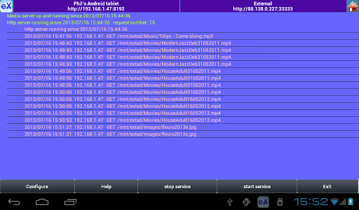 eXport-it UPnP Client/Server app for Android screenshot