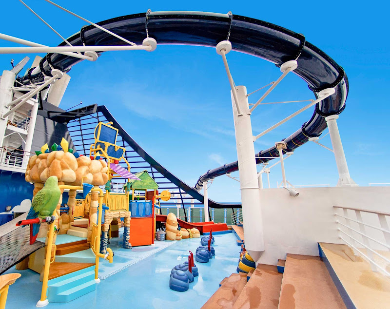 MSC Preziosa's winding waterslide swoops over Doremi Castle and a kid-centric aqua park.