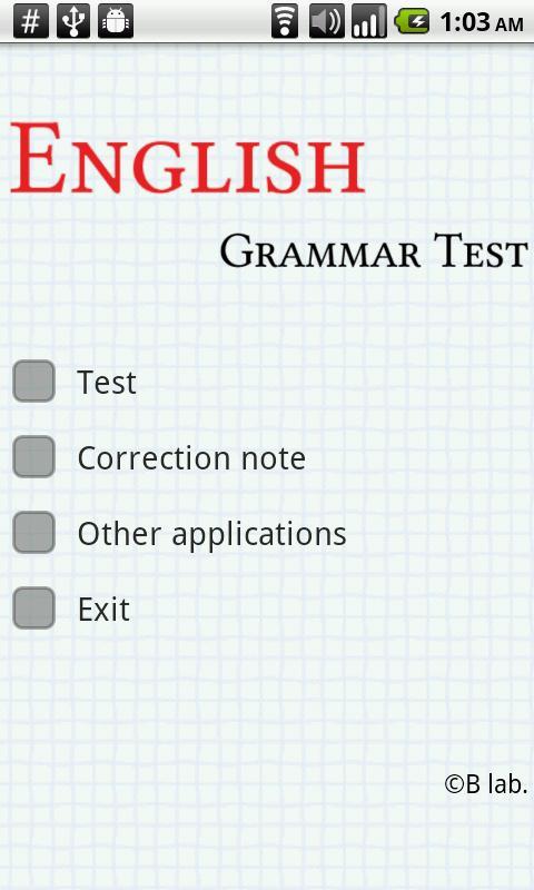 English Grammar Test - screenshot