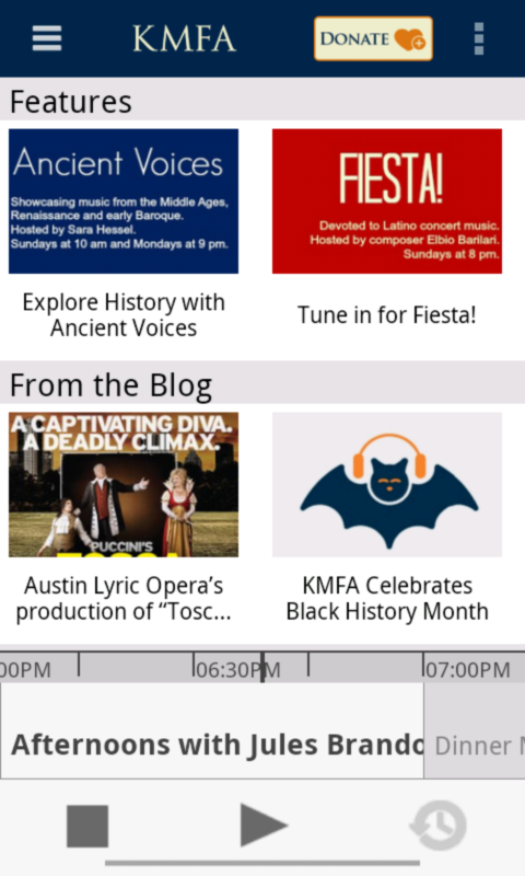 KMFA Public Radio App- screenshot