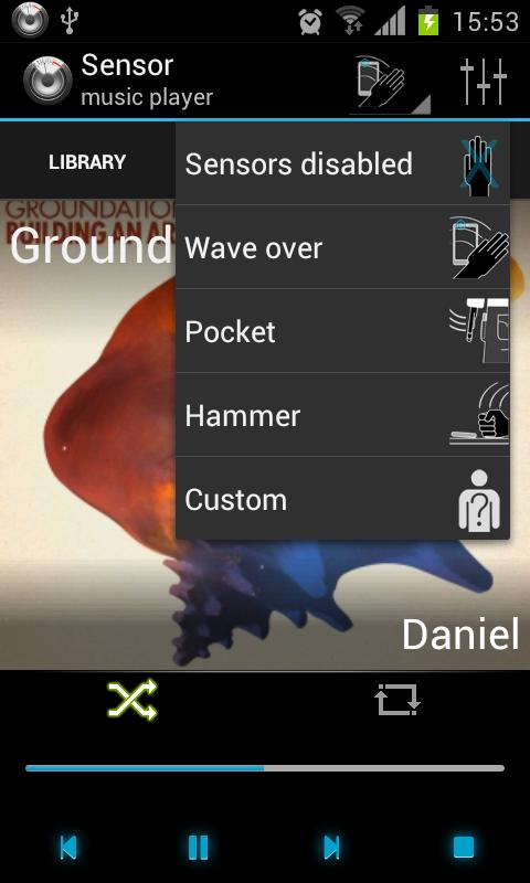 Sensor music player - screenshot