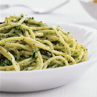 Pasta with Green Olive Pesto