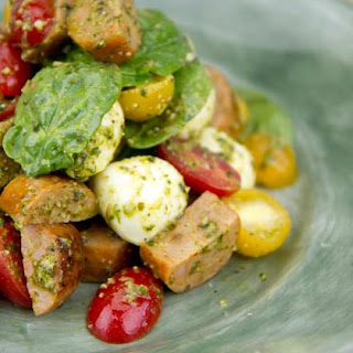 Italian Sausage Salad with Pesto, Tomatoes and Mozzarella