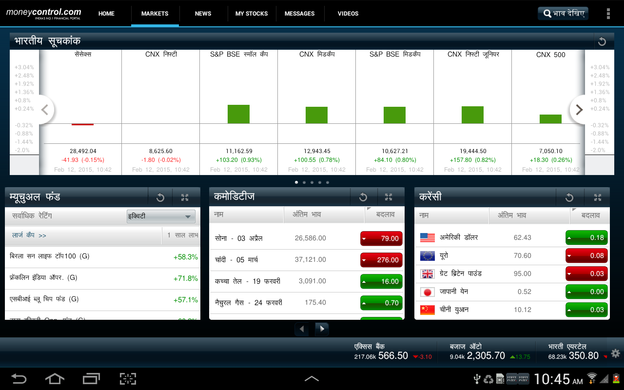 moneycontrol for Tablet - screenshot