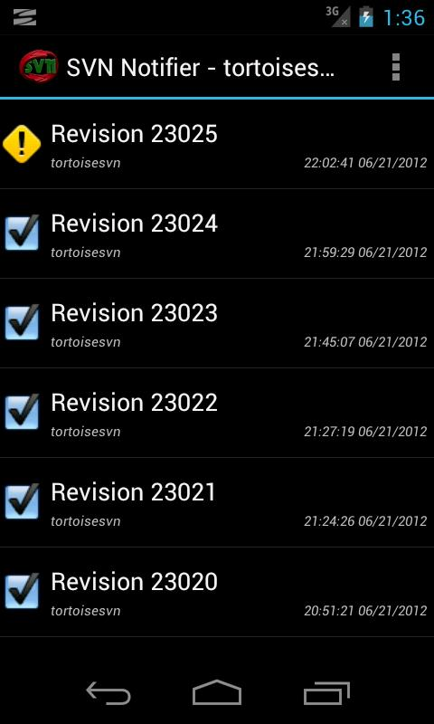 SVN Notifier Lite for Android - screenshot