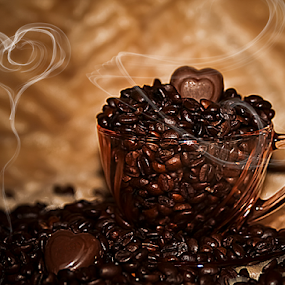 Have A Heart by Susan Farris - Food & Drink Ingredients ( chocolate, heart, sweet, candy, beans, coffee, hot, roasted, snack, smoke, steam, , Food & Beverage, meal, Eat & Drink )
