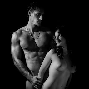 Love by Charlotte Hellings - Nudes & Boudoir Artistic Nude ( models, blackandwhite, model, nude, fineart, couple, people, portrait )